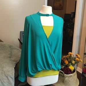 Lush Kelly Green Surplice Draped High Low Top NWT